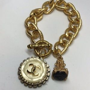 Recycled Chanel button bracelet